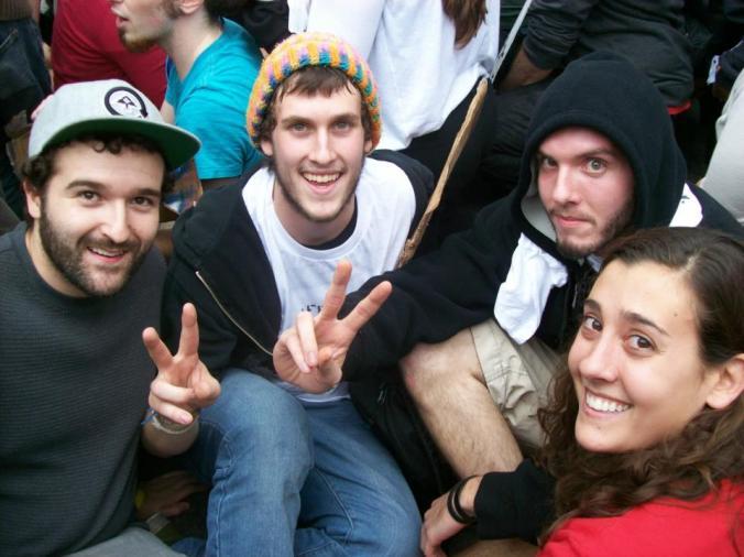 My four favorite Occupiers, awaiting arrest on the Brooklyn Bridge.